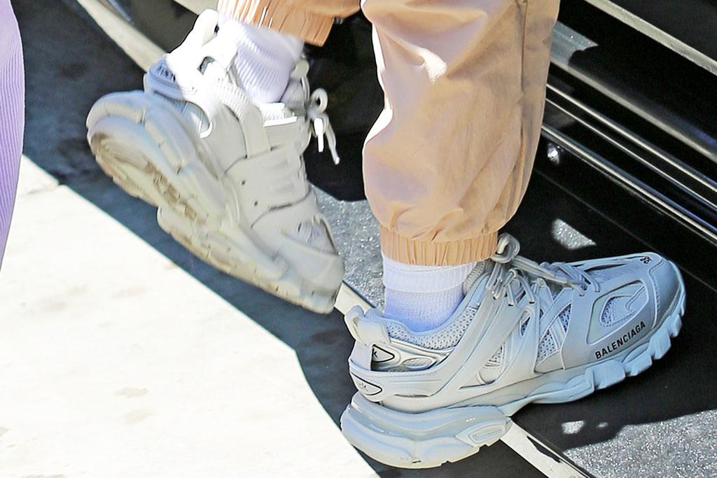 Hailey Baldwin, celebrity style, Balenciaga track sneakers, celebrity style, Justin Bieber, Adidas tracksuit