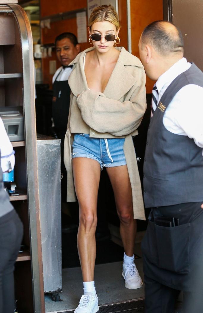hailey bieber, Super Court Premiere sneakers, legs, shorts, street style