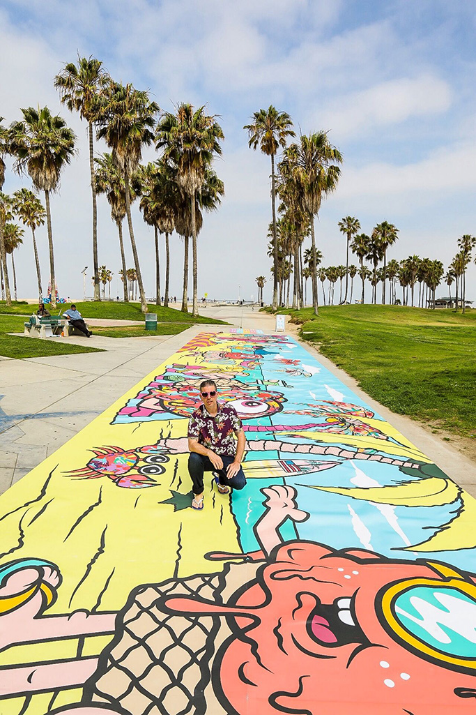 Havaianas mural, venice beach, buff monster art