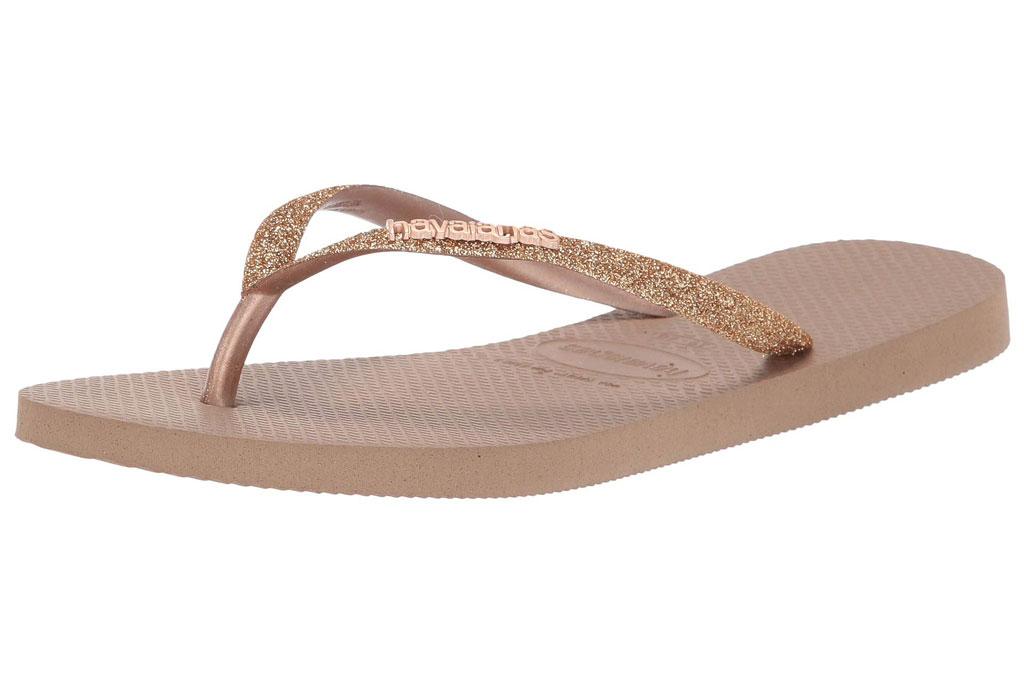 Havianas, flip-flops, rose gold