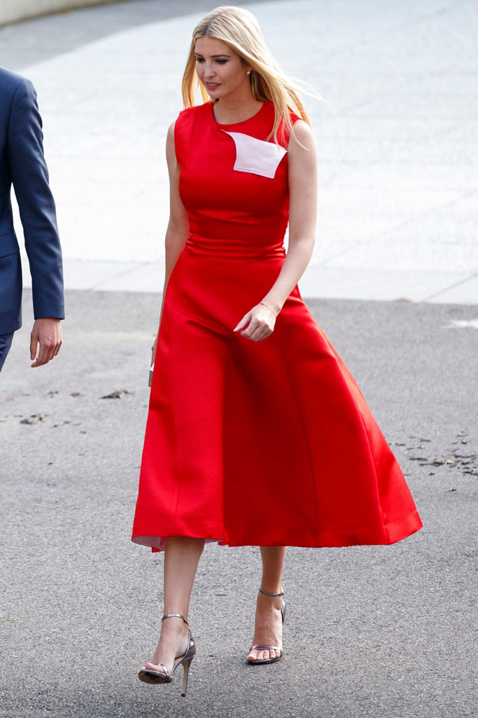 Ivanka Trump, red midi dress, strappy metallic sandals, qatari emir, celebrity style, state dinner, washington, dc, july 2019