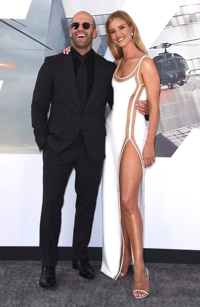 Fast & Furious Presents: Hobbs & Shaw premiere, Atelier Versace, giuseppe zanotti slingback sandals, Jason Statham and Rosie Huntington-Whiteley