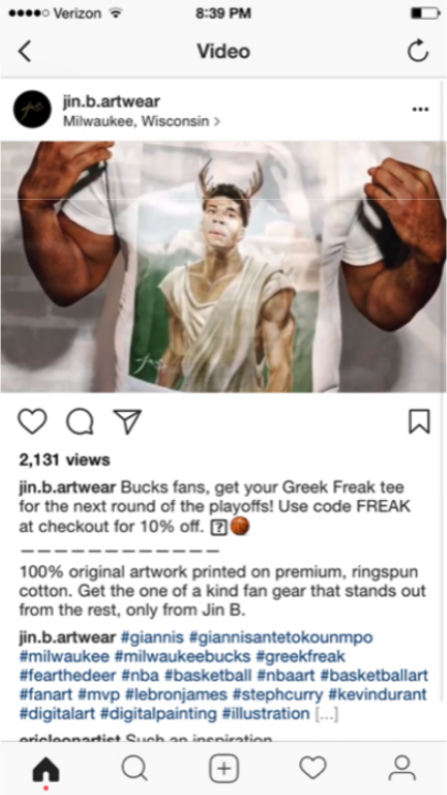 A screenshot of the Instagram post shared by Jin B Artwear depicting NBA star Giannis Antetokounmpo.