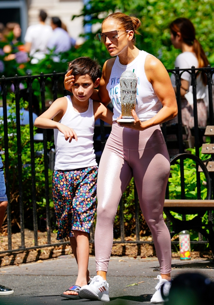 jlo with her son max, adidas