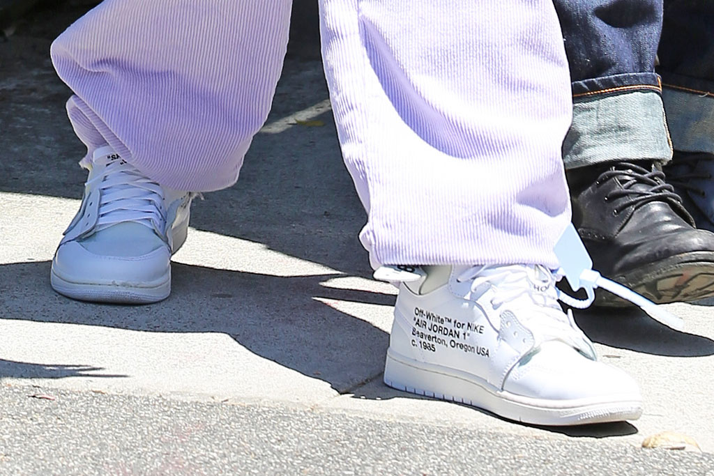 "Justin Bieber, celebrity shoe style, off-white x nike Air Jordan 1 ""White"""