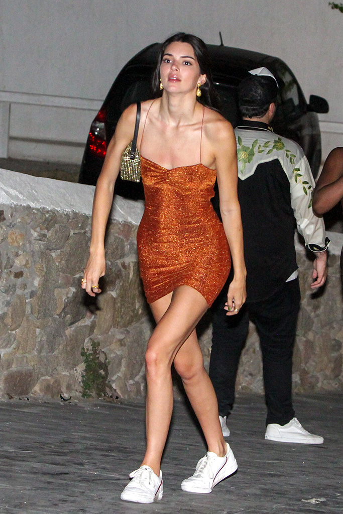 Kendall Jenner, minidress, adidas continental sneakers, celebrity style, seens night out with friends in Mykonos town. They go to a night club. Kendall leaves crying in the night from the club. 11 Jul 2019 Pictured: Kendall Jenner. Photo credit: Savio / MEGA TheMegaAgency.com +1 888 505 6342 (Mega Agency TagID: MEGA463316_021.jpg) [Photo via Mega Agency]