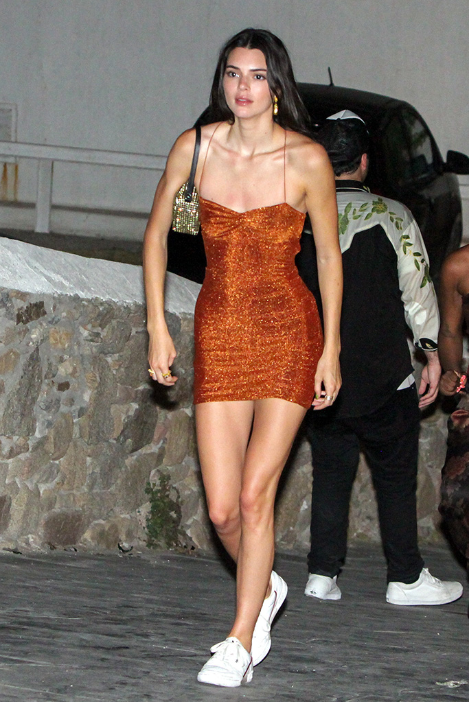 Kendall Jenner, adidas continental 80 sneakers, mykonos, greece, meshki minidress, legs, seens night out with friends in Mykonos town. They go to a night club. Kendall leaves crying in the night from the club. 11 Jul 2019 Pictured: Kendall Jenner. Photo credit: Savio / MEGA TheMegaAgency.com +1 888 505 6342 (Mega Agency TagID: MEGA463316_001.jpg) [Photo via Mega Agency]
