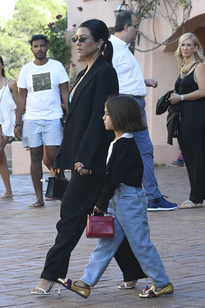 Kourtney Kardashian, Penelope Disick, street style, celebrity style, Italy, vacation, Gucci ballerina loafers, saint Laurent sandals,