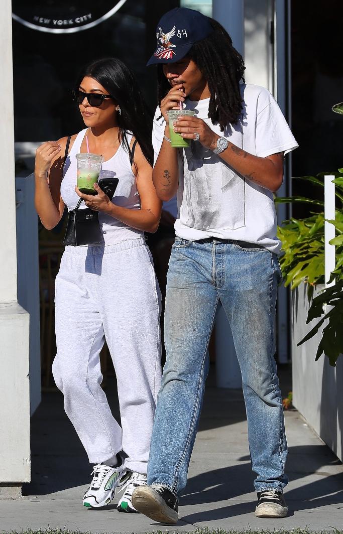 Kourtney Kardashian and Luka Sabbat, nike air max, rick owens, hermes mini kelly bag