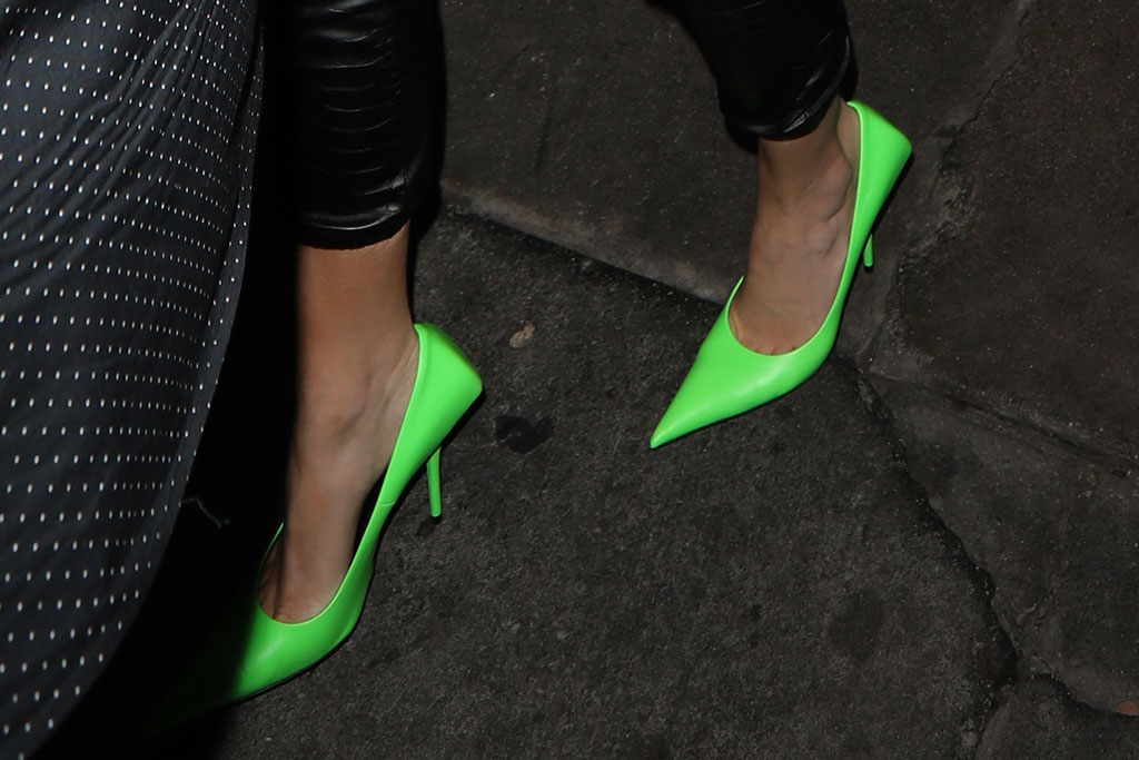 Kylie Jenner, celebrity style, Balenciaga knife pumps, neon green