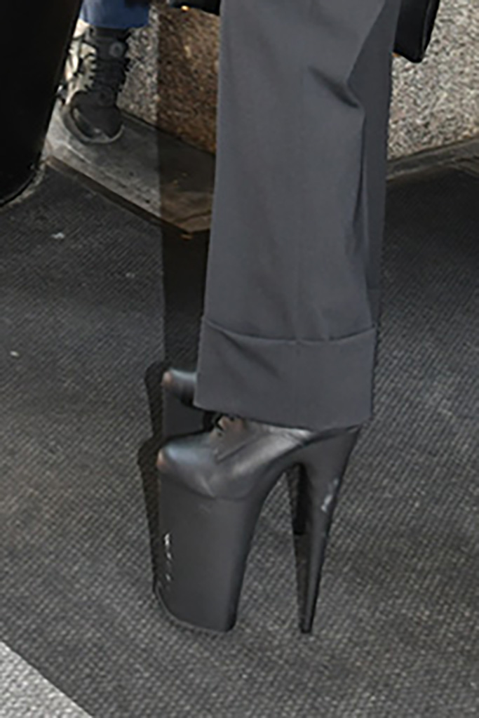 Lady Gaga, NYC, Pleaser Beyond-1020 boots, Platform Boots, Alberta Ferretti's fall '19 gold top, jumpsuit