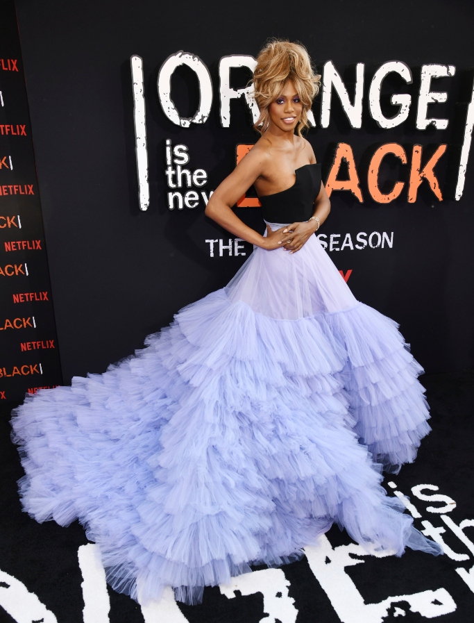laverne cox, christian siriano, orange is the new black final season premiere, red carpet