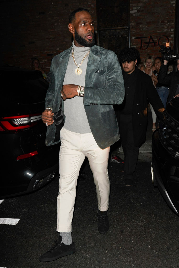 LeBron James, celebrity style, tom ford sneakers, suede jacket