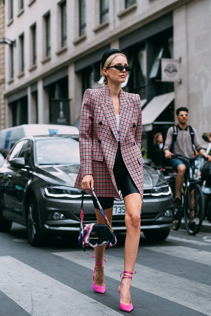 Leonie Hanne, Paris Couture Week, 2019, Pink, ankle strap heels tweed blazer