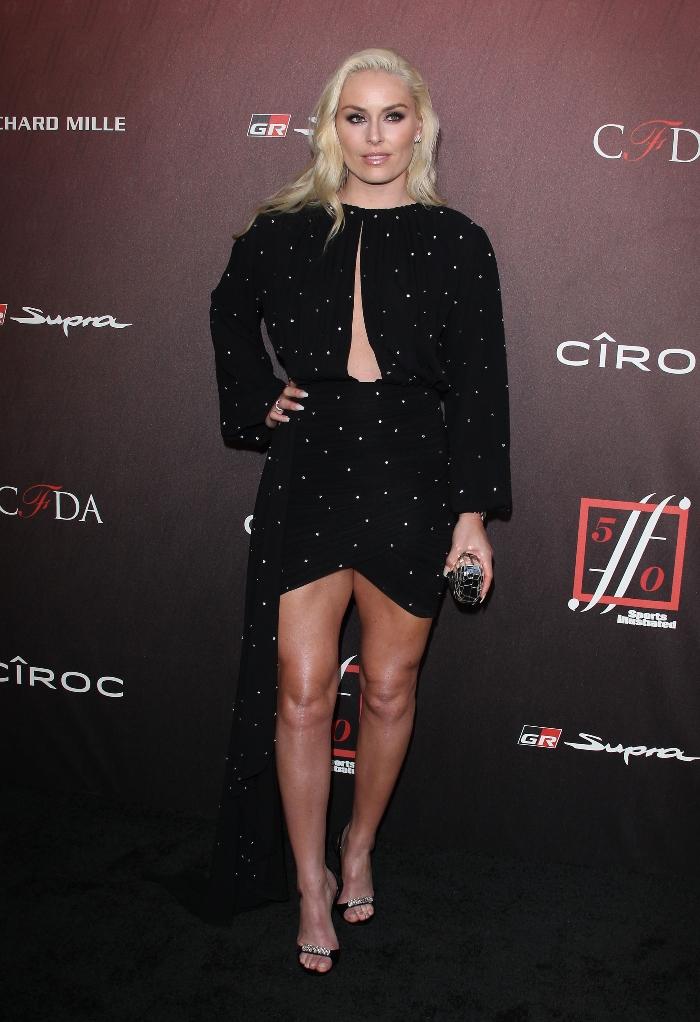 Lindsey Vonn, black dress, Sports Illustrated Fashionable 50 launch,