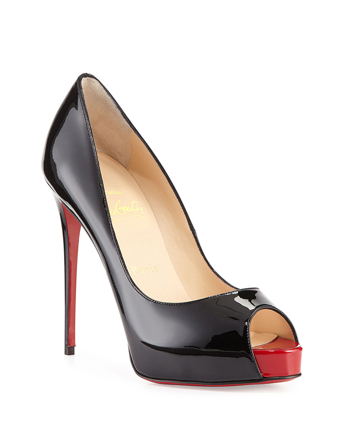 Christian Louboutin New Very Prive black patent leather peep toe pumps.
