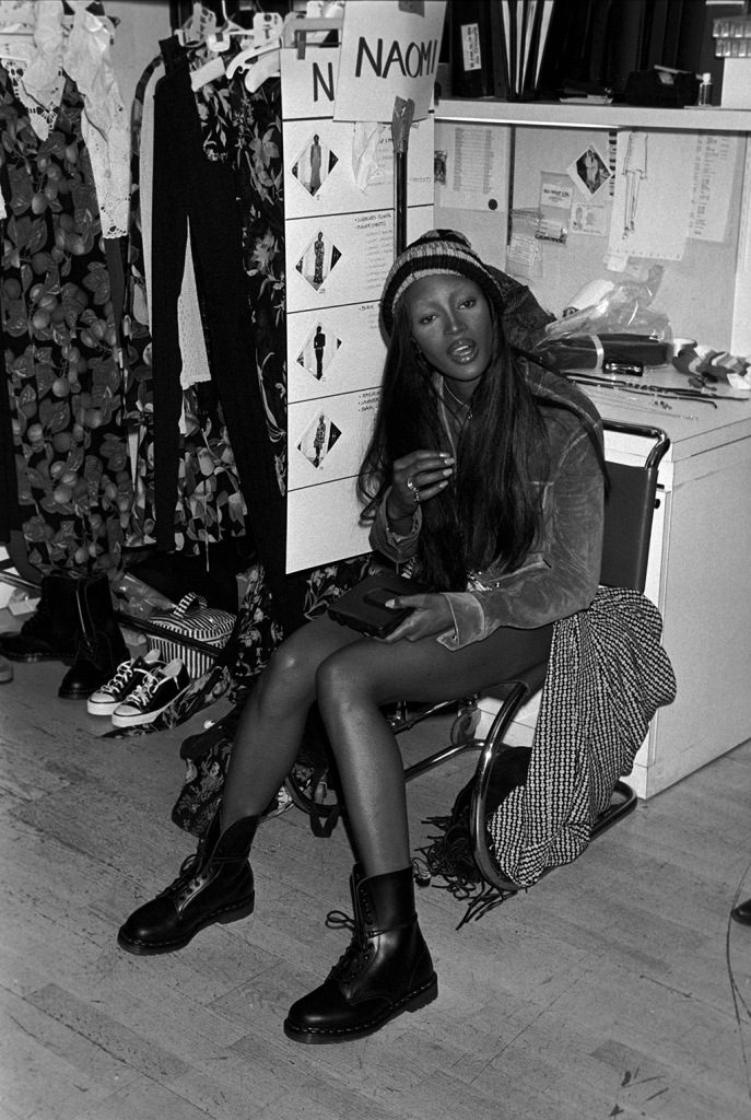 Naomi Campbell, runway, Perry ellis, Marc Jacobs, spring 1993, Model Naomi Campbell seated backstage at the Perry Ellis Spring/Summer 1993 show in New York designer by Marc Jacobs