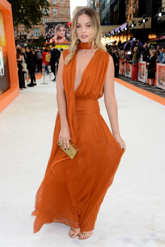 Margot Robbie, Oscar de la renta gown, Tabitha Simmons sandals, celebrity style, attends the UK premiere of 'Once Upon a Time In... Hollywood' in London, Britain, 30 July 2019. The movie is released in British cinemas on 14 August.Once Upon a Time In Hollywood film premiere in London, United Kingdom - 30 Jul 2019