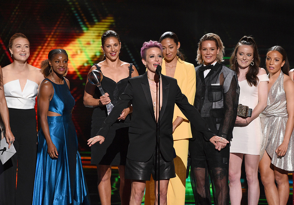 wardrobe malfunction, Megan Rapinoe, center, and members of the U.S. women's national soccer team accept the award for best team at the ESPY Awards, at the Microsoft Theater in Los Angeles2019 ESPY Awards - Show, Los Angeles, USA - 10 Jul 2019