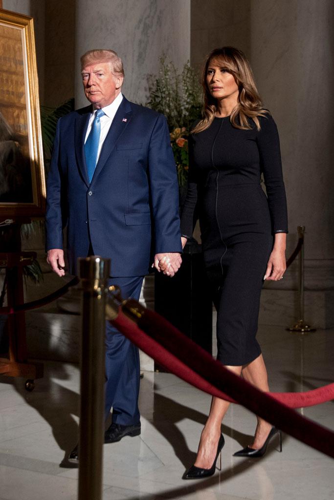 Melania Trump, black dress, Manolo blahnik stilettos, justice John Paul Stevens funeral, celebrity style, Donald trump, Supreme Court great hall