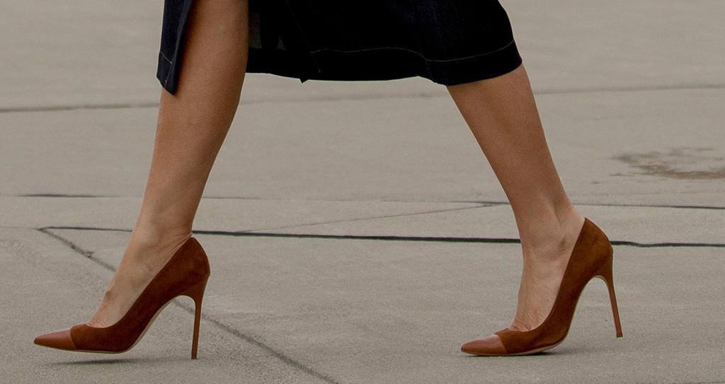 manolo blahnik captoe pumps, Lafayette 148 New York denim dress, First lady Melania Trump arrives at Huntington Tri-State Airport in Huntington, WVaMelania Trump, Huntington, USA - 08 Jul 2019