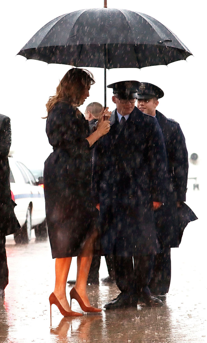 manolo blahnik captoe pumps, Lafayette 148 New York denim dress, First lady Melania Trump arrives to board a plane during a heavy rain storm, at Andrews Air Force Base, Md., to travel to Huntington, WVaMelania Trump, Andrews Air Force Base, USA - 08 Jul 2019