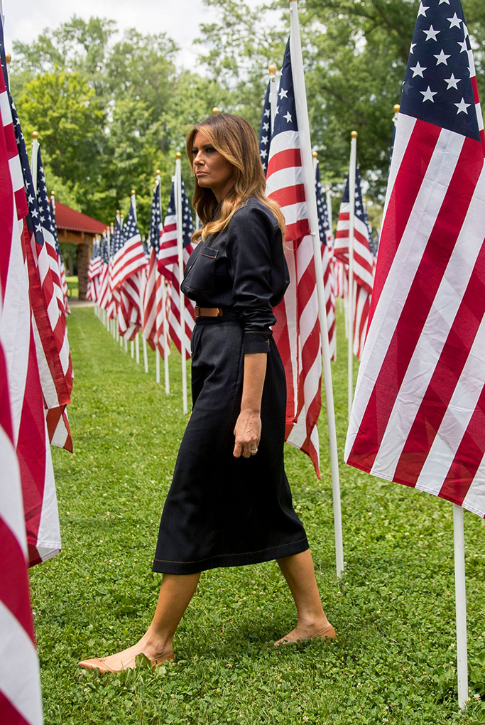 christian louboutin Solasofia ballerinas flats nude, First lady Melania Trump walks through a field of American flags, each representing a child in the foster system in Cabell County, most of them due to the opioid crisis, at Ritter Park in Huntington, W.Va., . Melania Trump is in Huntington to meet with state and local leaders on the ongoing opioid crisisMelania Trump, Huntington, USA - 08 Jul 2019