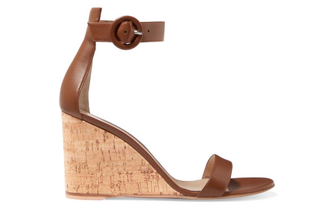 Gianvito Rossi Portofino wedge sandals, cork heel, buckle closure, brown
