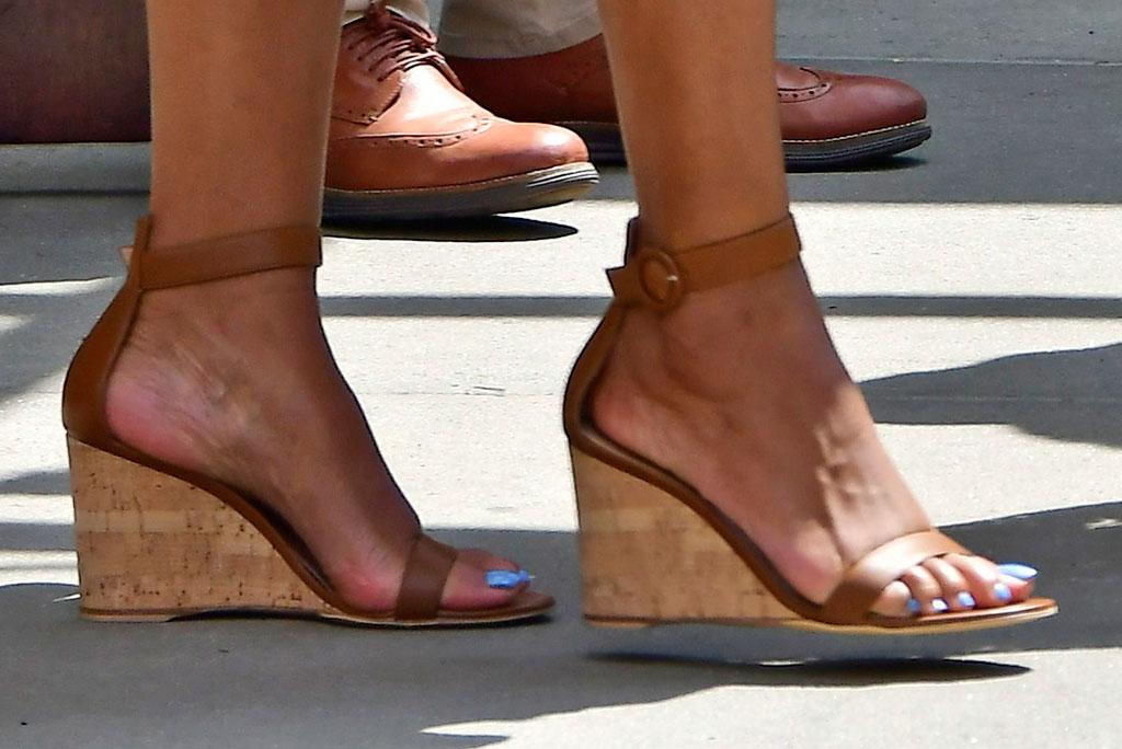 Michelle Obama, feet, Gianvito Rossi Portofino Wedge sandals, pedicure, celebrity shoe style