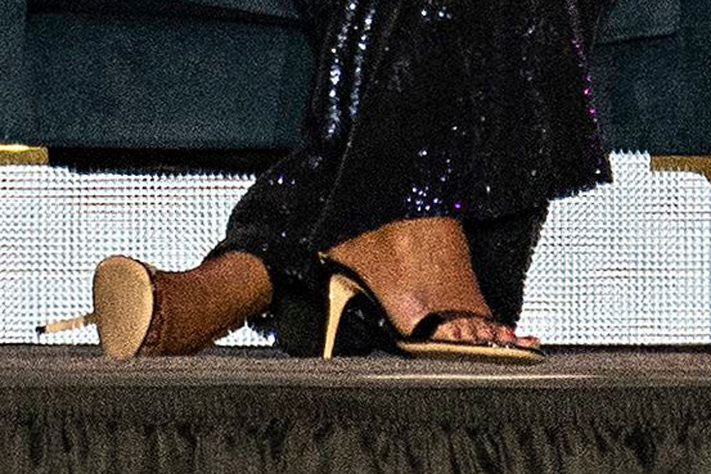 Michelle Obama, sparkly sequin jumpsuit, sergio hudson, celebrity style, gianvito rossi sandals, first lady