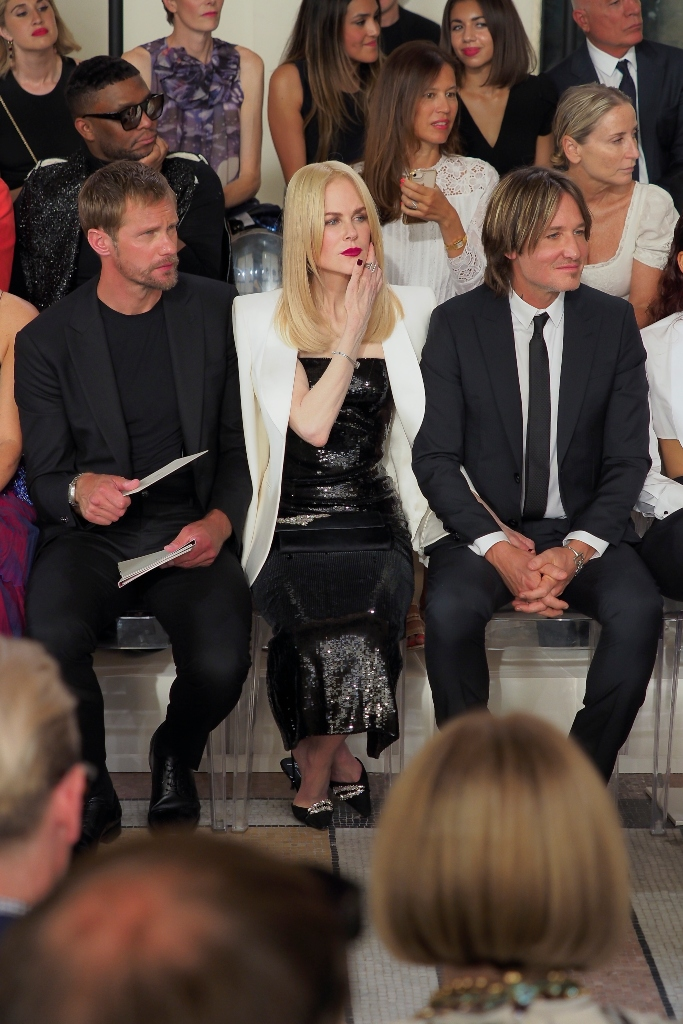 nicole kidman and keith urban, Giorgio Armani Prive haute couture show fall 2019, front row, Alexander Skarsgård