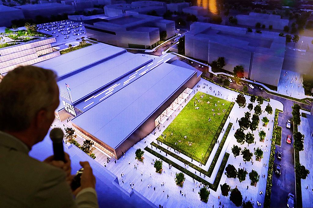 Artist's renditions of the planned NHL ice hockey practice facility at Northgate Mall