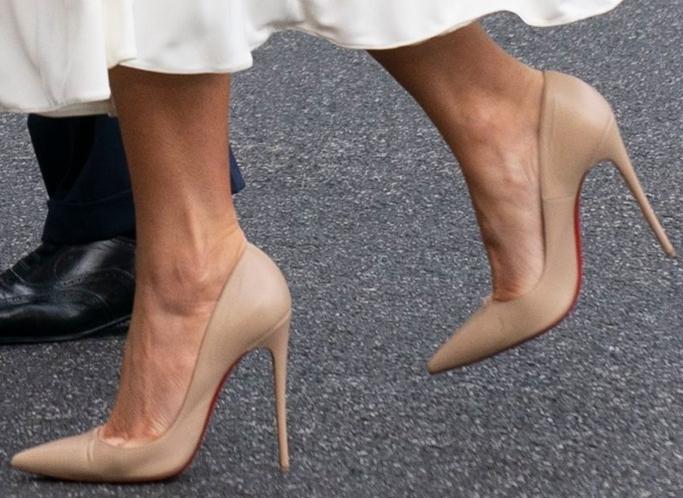 melania trump, nude leather christian louboutin heels