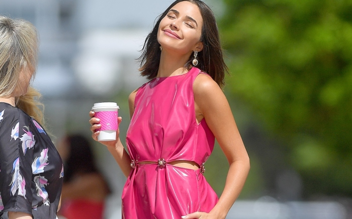 olivia culpo, versace pink latex dress pre-fall 2019