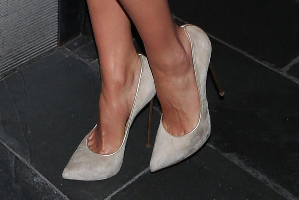 Olivia Culpo, Casadei Blade pumps, celebrity style, stilettos, feet, shoe style