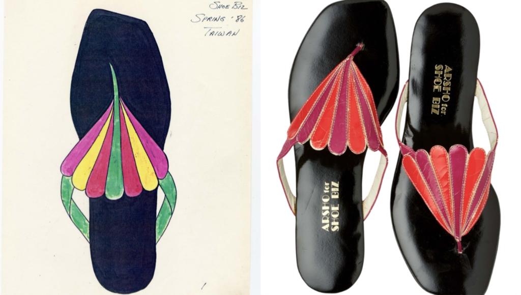 Peacock-inpsired thong, Arsho for Super Shoe Biz, 1979