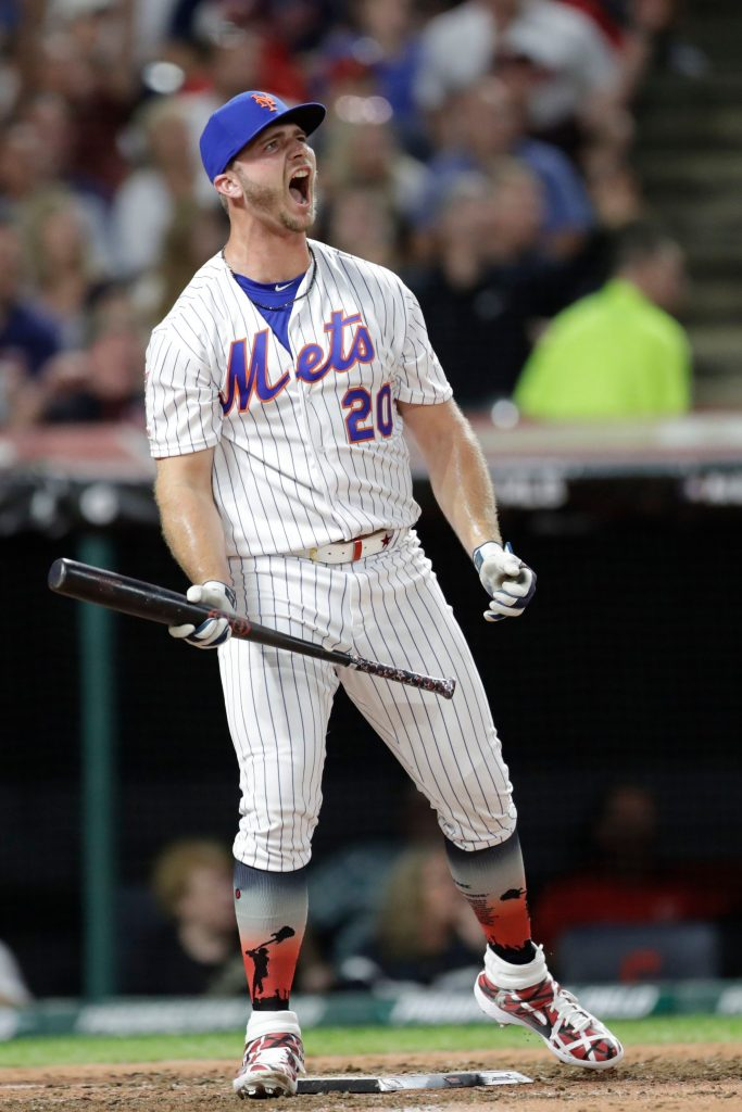 Pete Alonso, of the New York Mets, reacts during the Major League Baseball Home Run Derby, in Cleveland. The MLB baseball All-Star Game will be played TuesdayAll Star Home Run Derby Baseball, Cleveland, USA - 08 Jul 2019