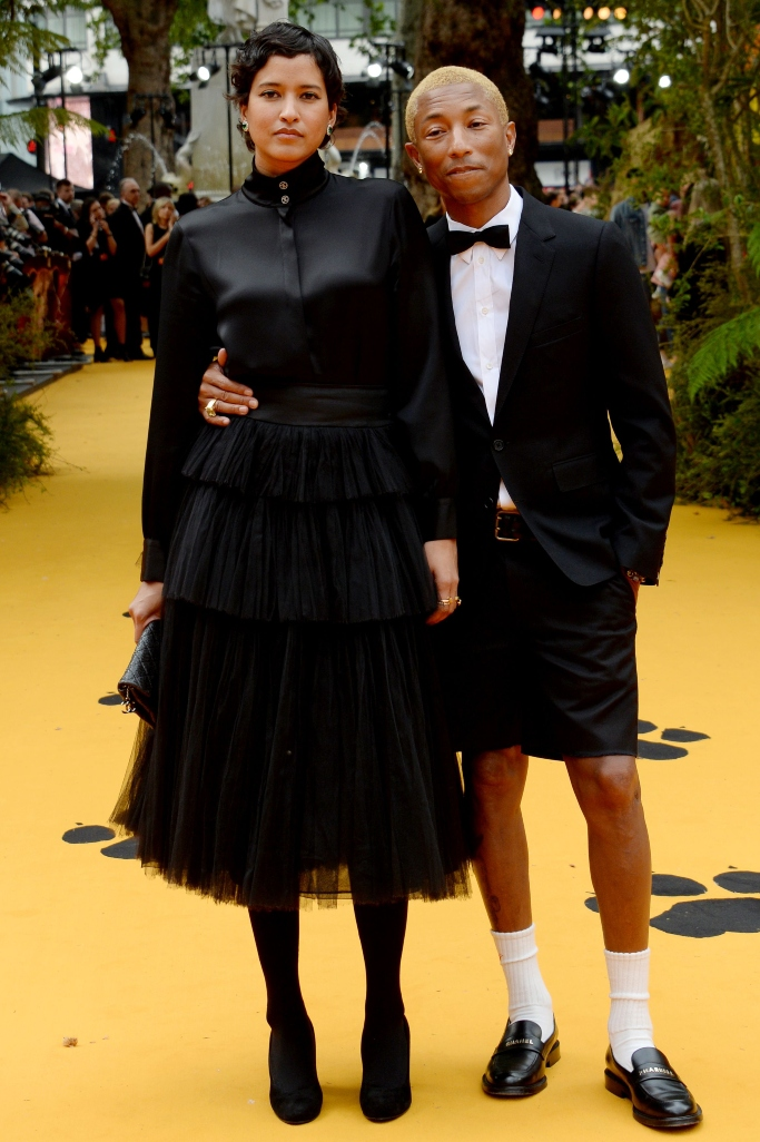 Pharrell Williams and Helen Lasichanh, the lion king london premiere