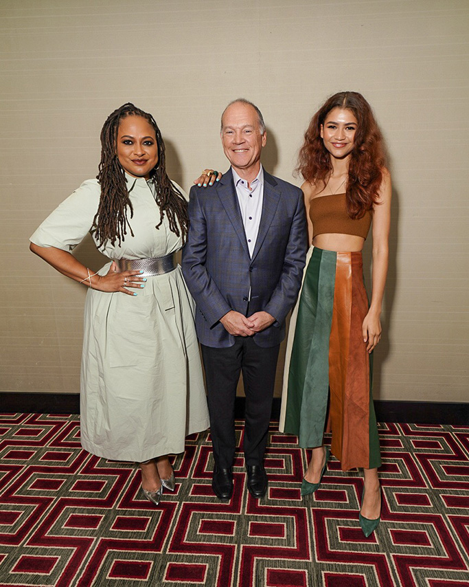 AT&T Communications CEO John Donovan, Ava Duvernay, Ferragamo skirt, Le Silla suede green pumps, zendaya, 2019 at&t dream in black brunch
