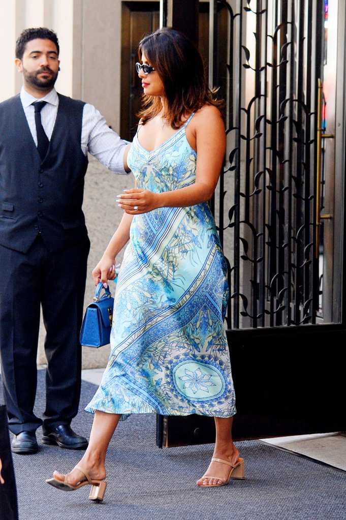Priyanka Chopra, Hale Bob silk dress, le specs sunglasses, by far sandals, Salvatore farragamo mini bag, heads out in a silk dress in New York City today.Pictured: Priyanka ChopraRef: SPL5105770 240719 NON-EXCLUSIVEPicture by: SplashNews.comSplash News and PicturesLos Angeles: 310-821-2666New York: 212-619-2666London: 0207 644 7656Milan: 02 4399 8577photodesk@splashnews.comWorld Rights