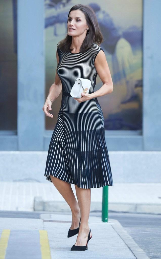Queen LetiziaFundeu BBVA Advisory Board meeting, Madrid, Spain - 18 Jul 2019Wearing Hugo Boss, Shoes By Carolina Herrera, Bag By Furla