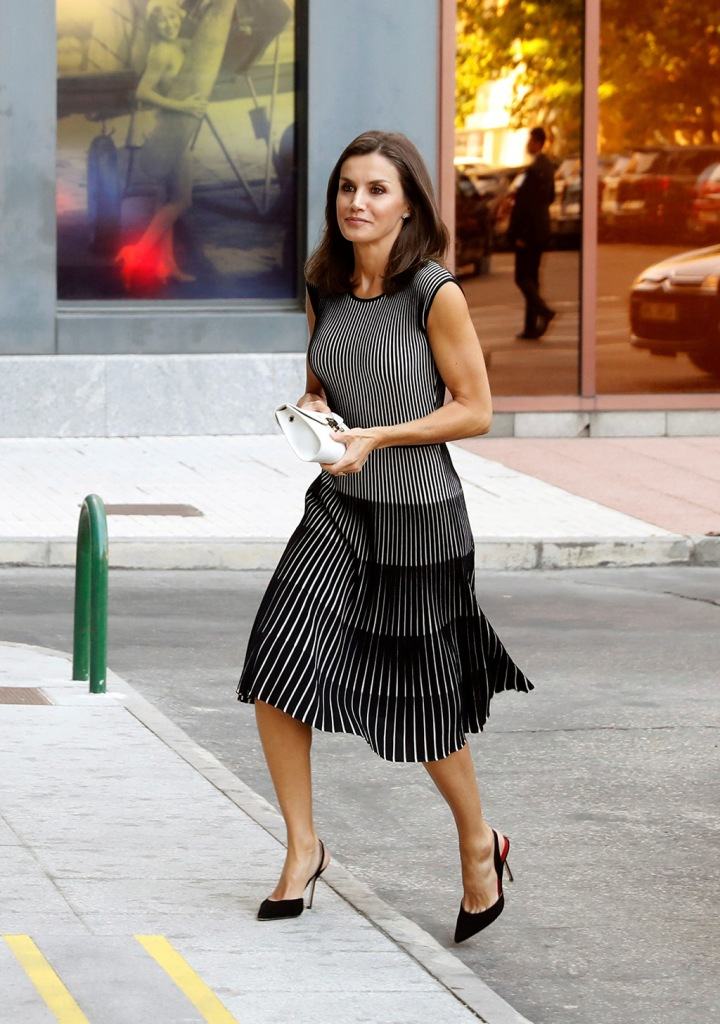 Queen Letizia of Spain, Carolina Herrera pumps, Hugo Boss black and white dress, furla clutch, arrives at the headquarters of the Spanish international news agency Efe in Madrid, Spain, 18 July 2019, to attend a meeting of the Foundation of Emerging Spanish (Fundeu BBVA) Advisory Council.Spanish Queen Letizia attends meeting of Fundeu BBVA, Madrid, Spain - 18 Jul 2019