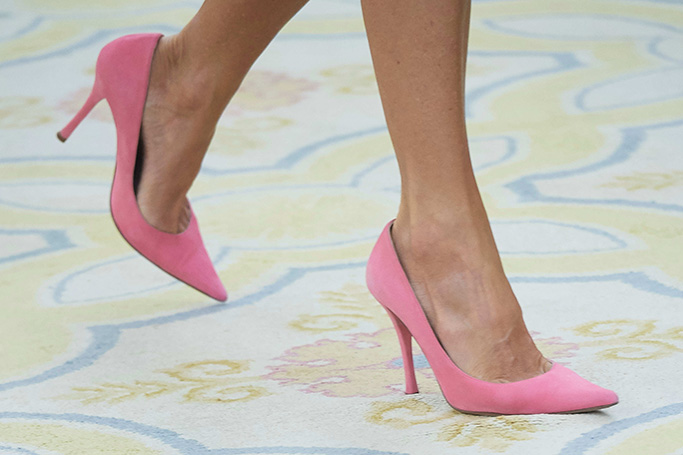 Queen Letizia, pink Magrit heels, celebrity shoe style, Spanish Royals audience with swimmer Ona Carbonell Ballestero at Zarzuela Palace, Madrid, Spain - 23 Jul 2019