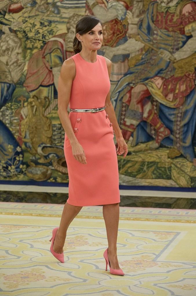 Queen Letizia, Michael kors sheath dress, Magrit heels, Spanish Royals receive Spanish synchronized swimmer Ona Carbonell, Madrid, Spain - 23 Jul 2019
