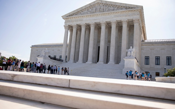 People gather to enter the US Supreme Court in Washington, DC, USA, 24 June 2019. The court is soon expected to issue rulings on a citizenship question on the 2020 Census and partisan congressional gerrymandering.US Supreme Court rulings on a citizenship question, Washington, USA - 24 Jun 2019