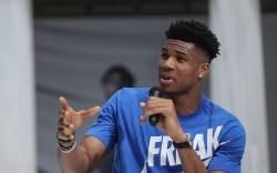 Basketball player Giannis Antetokounmpo, of the