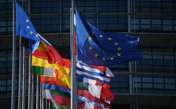 European countries' flags and the European Union flag fly in front of the 'Louise Weiss Building', the seat of the European Parliament, in Strasbourg, France, 02 July 2019.European Parliament in Strasbourg, France - 02 Jul 2019