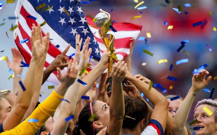 Team USA celebrate winning the Women's World CupUSA v Netherlands, FIFA Women's World Cup Final, Football, Stade de Lyon, France - 07 Jul 2019