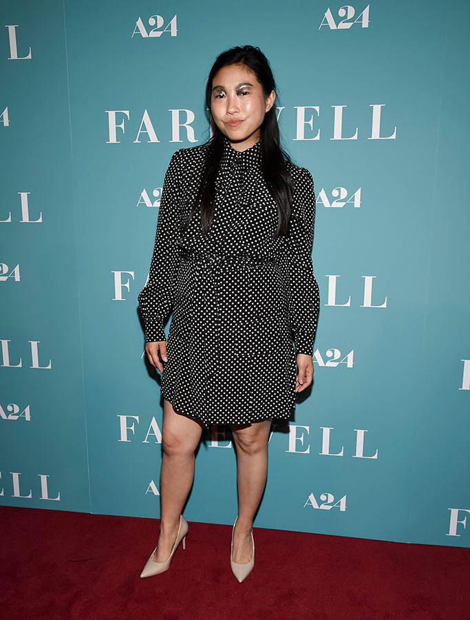 Awkwafina, the farewell, marc jacobs dress, glitter eyeshadow