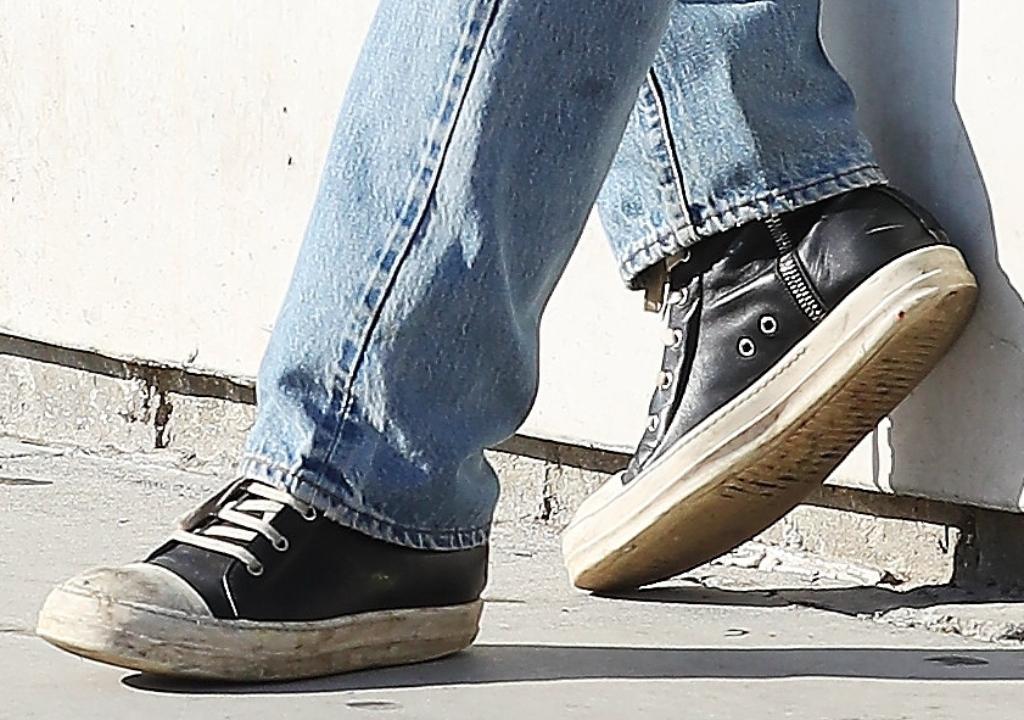 luka sabbat wearing rick owens high top leather sneakers